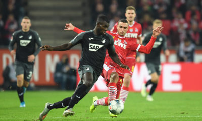 COLOGNE, GERMANY - NOVEMBER 08: Ihlas Bebou of TSG 1899 Hoffenheim is challenged by Ellyes Skhiri of 1. FC Koeln during the Bundesliga match between 1. FC Koeln and TSG 1899 Hoffenheim at RheinEnergieStadion on November 08, 2019 in Cologne, Germany. (Photo by Jörg Schüler/Bongarts/Getty Images)