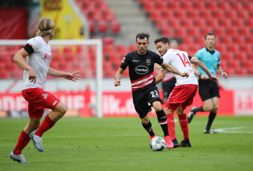 Fussball v.l. Kevin Stoeger, Jonas Hector Koeln Koeln, 24.05.2020, Fussball Bundesliga, 1. FC Koeln - Fortuna Duesseldorf Koeln, Christof Koepsel für Witters, DFL regulations prohibit any use of photographs as image sequences and/or quasi video. *** Football by Kevin Stoeger, Jonas Hector Cologne Cologne, 24 05 2020, Bundesliga Football, 1 FC Cologne Fortuna Duesseldorf Cologne Poolfoto WITTERS ,EDITORIAL USE ONLY