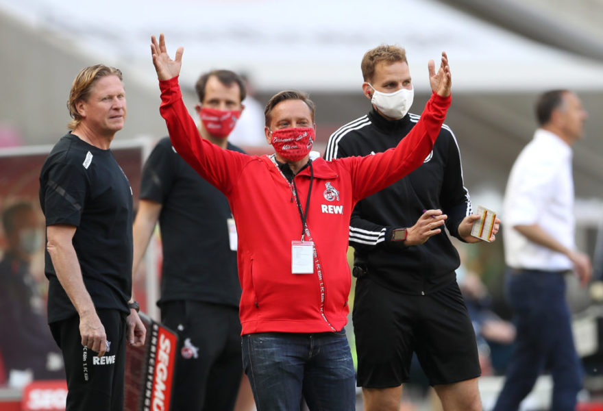 COLOGNE, GERMANY - MAY 17: Horst Heldt, Managing Director Sport of 1. FC Koeln gestures during the Bundesliga match between 1. FC Koeln and 1. FSV Mainz 05 at RheinEnergieStadion on May 17, 2020 in Cologne, Germany. The Bundesliga and Second Bundesliga is the first professional league to resume the season after the nationwide lockdown due to the ongoing Coronavirus (COVID-19) pandemic. All matches until the end of the season will be played behind closed doors. (Photo by Lars Baron/Getty Images)