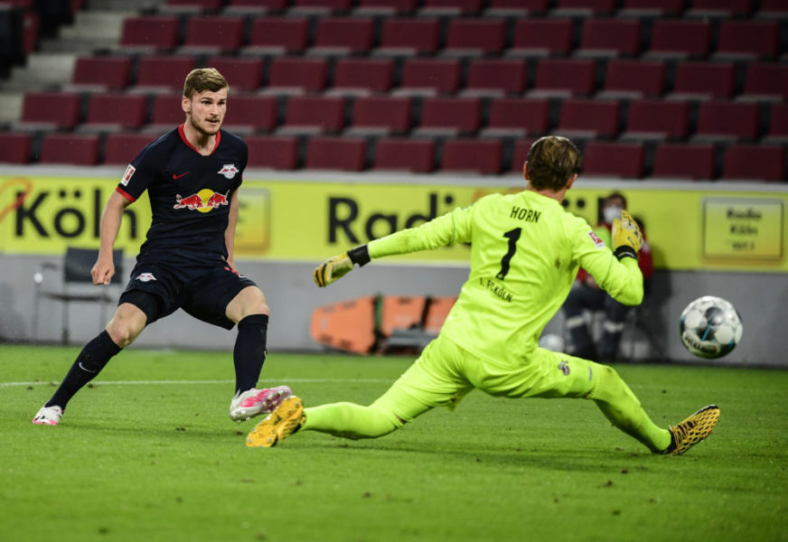 COLOGNE, GERMANY - JUNE 01: Timo Werner of Leipzig scores his sides third goal during the Bundesliga match between 1. FC Koeln and RB Leipzig at RheinEnergieStadion on June 1, 2020 in Cologne, Germany. (Photo by Ina Fassbender/Pool via Getty Images)