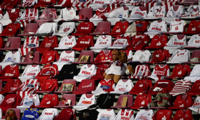 COLOGNE, GERMANY - JUNE 01: Shirts of Cologne's supporters are placed on the seats prior to the Bundesliga match between 1. FC Koeln and RB Leipzig at RheinEnergieStadion on June 1, 2020 in Cologne, Germany. (Photo by Ina Fassbender/Pool via Getty Images)