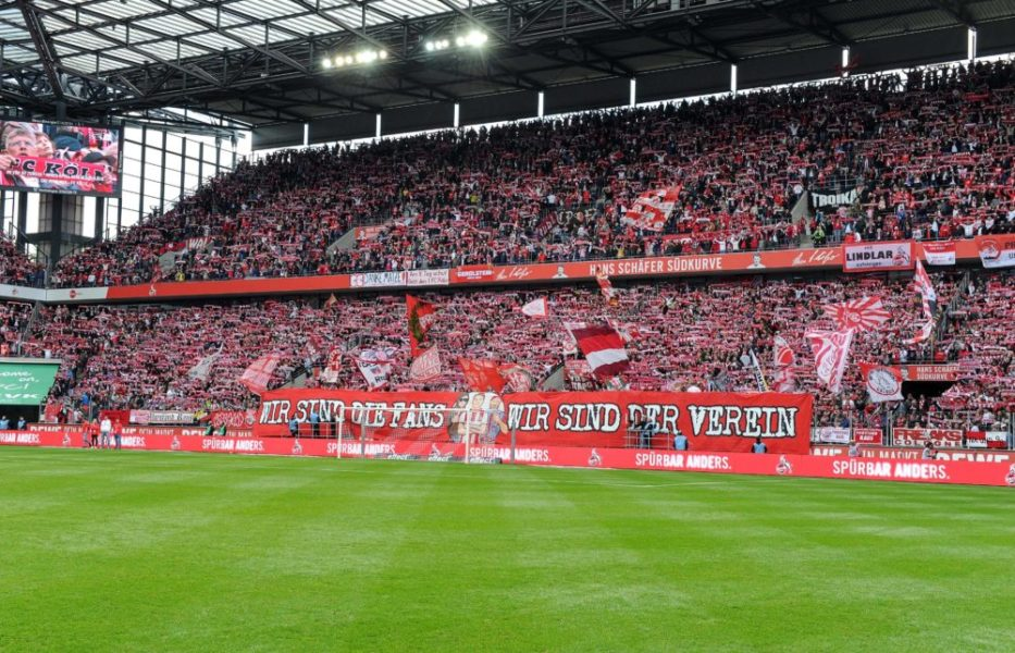 12.05.2019, xjpx, Fussball 2.Bundesliga, 1.FC Koeln - SSV Jahn Regensburg emspor, v.l. Suedkurve vor Spielbeginn mit einem Banner: Wir sind die Fans - Wir sind der Verein (DFL/DFB REGULATIONS PROHIBIT ANY USE OF PHOTOGRAPHS as IMAGE SEQUENCES and/or QUASI-VIDEO) Koeln *** 12 05 2019 xjpx Soccer 2 Bundesliga 1 FC Koeln SSV Jahn Regensburg emspor v l Suedkurve vor Spiellbein with a banner We are the fans We are the club DFL DFB REGULATIONS PROHIBIT ANY USE OF PHOTOGRAPHS as IMAGE SEQUENCES and or QUASI VIDEO Koeln