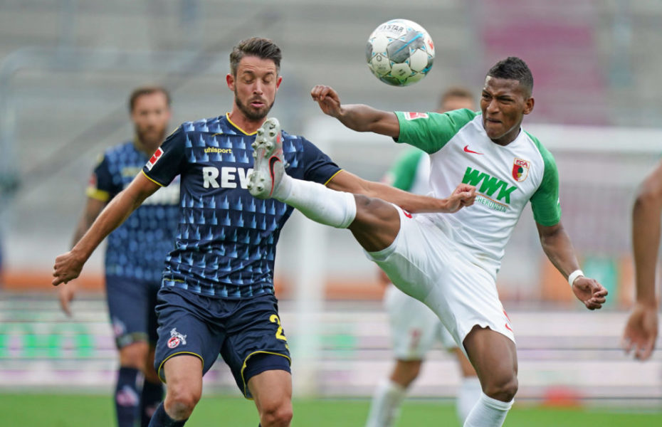 Sport Bilder des Tages 1.Bundesliga FC AUGSBURG - 1.FC KOELN Augsburg, Deutschland, 7. Juni 2020, Mark UTH, 1.FCK 23 gegen Carlos GRUEZO, FCA 25 beim Spiel FC AUGSBURG - 1.FC KOELN 1.Bundesliga, Saison 2019/2020, 30.Spieltag, Köln Foto: Peter Schatz / Pool Important: DFL REGULATIONS PROHIBIT ANY USE OF PHOTOGRAPHS as IMAGE SEQUENCES and/or QUASI-VIDEO - National and international News-Agencies OUT Editorial Use ONLY Augsburg WWK Arena Bayern Deutschland *** 1 Bundesliga FC AUGSBURG 1 FC KOELN Augsburg, Germany, 7 June 2020, Mark UTH, 1 FCK 23 against Carlos GRUEZO, FCA 25 at FC AUGSBURG 1 FC KOELN 1 Bundesliga match, 2019 2020 season, 30 matchday, Cologne Photo Peter Schatz Pool Important DFL REGULATIONS PROHIBIT ANY USE OF PHOTOGRAPHS as IMAGE SEQUENCES and or QUASI VIDEO National and international News Agencies OUT Editorial Use ONLY Augsburg WWK Arena Bayern Germany Poolfoto Peter Schatz / Pool ,EDITORIAL USE ONLY