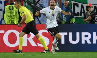 Germany's defender Jonas Hector celebrates after scoring a penalty kick during the Euro 2016 quarter-final football match between Germany and Italy at the Matmut Atlantique stadium in Bordeaux on July 2, 2016. / AFP / PATRIK STOLLARZ (Photo credit should read PATRIK STOLLARZ/AFP via Getty Images)