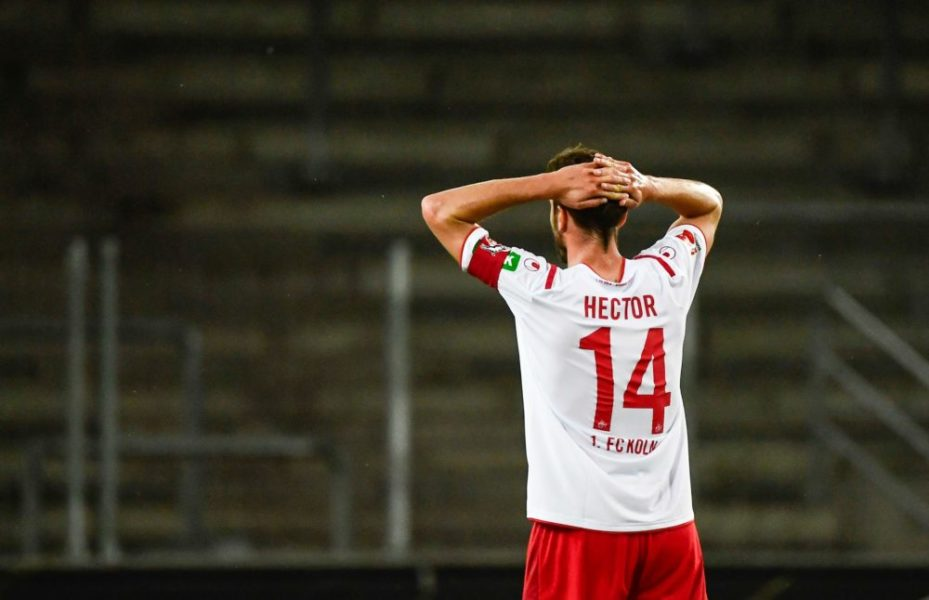 Cologne's German defender Jonas Hector reacts during the German first division Bundesliga football match FC Cologne vs RB Leipzig, in Cologne on June 1, 2020. (Photo by Ina FASSBENDER / various sources / AFP) / DFL REGULATIONS PROHIBIT ANY USE OF PHOTOGRAPHS AS IMAGE SEQUENCES AND/OR QUASI-VIDEO (Photo by INA FASSBENDER/AFP via Getty Images)