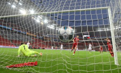 Leverkusen's German midfielder Kai Havertz (C) scores the 2-0 during the German first division Bundesliga football match Bayer Leverkusen v FC Cologne on June 17, 2020 in Leverkusen, western Germany. (Photo by INA FASSBENDER / POOL / AFP) / DFL REGULATIONS PROHIBIT ANY USE OF PHOTOGRAPHS AS IMAGE SEQUENCES AND/OR QUASI-VIDEO (Photo by INA FASSBENDER/POOL/AFP via Getty Images)