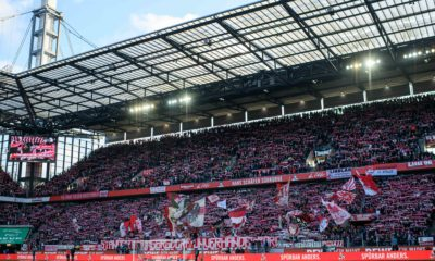 COLOGNE, GERMANY - JANUARY 18: A view to the stands of Cologne Fans during the Bundesliga match between 1. FC Koeln and VfL Wolfsburg at RheinEnergieStadion on January 18, 2020 in Cologne, Germany. (Photo by Jörg Schüler/Bongarts/Getty Images)