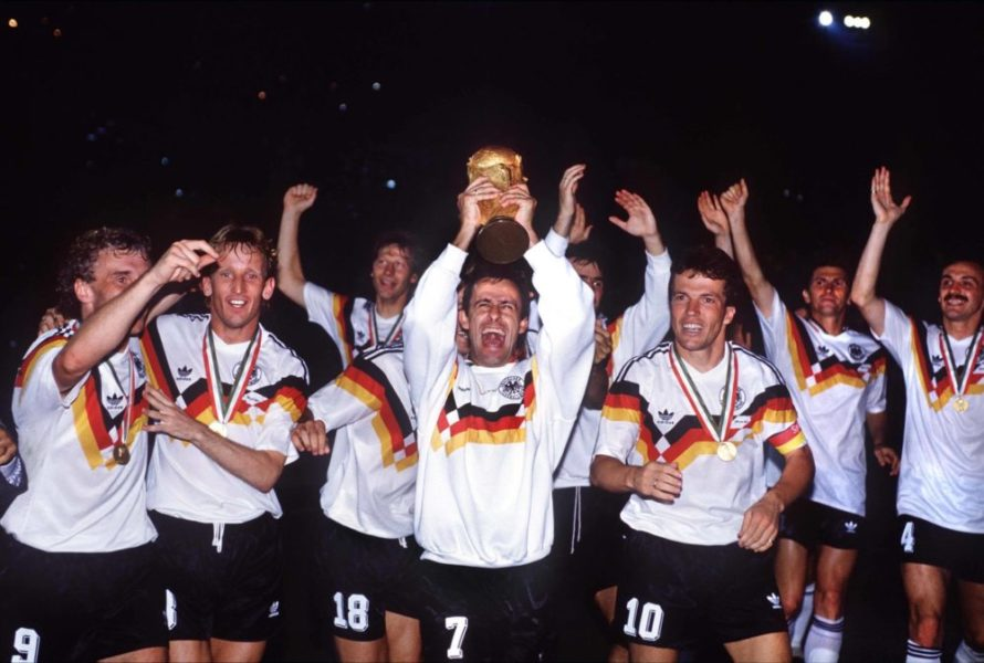 Pierre Littbarski holds up the trophy GER Lothar Matthaeus right, Rudi Voeller left, Andreas Brehme 2nd left Argentina v West Germany. World Cup Final 1990. Rome. 8/7/90. PUBLICATIONxINxGERxSUIxAUTxHUNxPOLxUSAxONLY