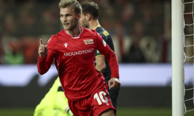 BERLIN, GERMANY - DECEMBER 08: Sebastian Andersson of 1.FC Union Berlin celebrates with teammates after scoring his team's first goal during the Bundesliga match between 1. FC Union Berlin and 1. FC Koeln at Stadion An der Alten Foersterei on December 08, 2019 in Berlin, Germany. (Photo by Maja Hitij/Bongarts/Getty Images)
