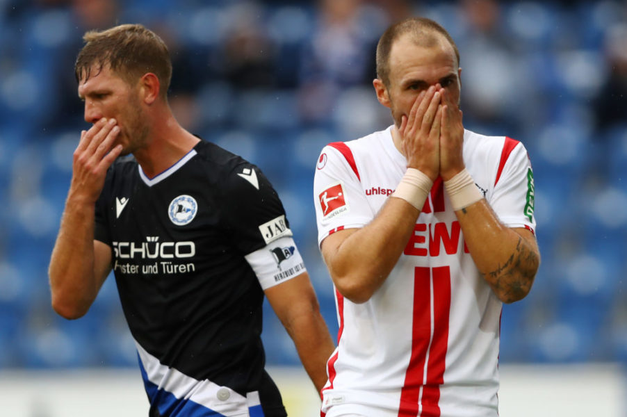 BIELEFELD, GERMANY - SEPTEMBER 26: Rafael Czichos of 1. FC Koln reacts during the Bundesliga match between DSC Arminia Bielefeld and 1. FC Koeln at Schueco Arena on September 26, 2020 in Bielefeld, Germany. A limited number of fans have been let into the stadium as COVID-19 restrictions ease. (Photo by Martin Rose/Getty Images)