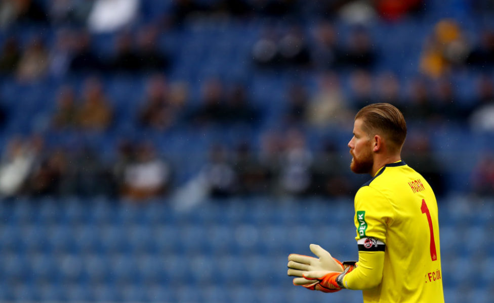 BIELEFELD, GERMANY - SEPTEMBER 26: Timo Horn, goalkeeper of Koeln reacts during the Bundesliga match between DSC Arminia Bielefeld and 1. FC Koeln at Schueco Arena on September 26, 2020 in Bielefeld, Germany. (Photo by Martin Rose/Getty Images)