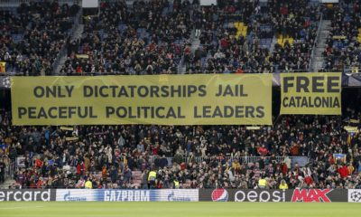 fans of FC Barcelona Barca protest with banner Only dictatorship jail peaceful political leaders. Free Catalonia. during the UEFA Champions League group B match between FC Barcelona and Tottenham Hotspur FC at the Camp Nou stadium on December 11, 2018 in Barcelona, Spain UEFA Champions League 2018/2019 xVIxVIxImagesx/xMauricexvanxSteenxIVx PUBLICATIONxINxGERxSUIxAUTxONLY 13058957