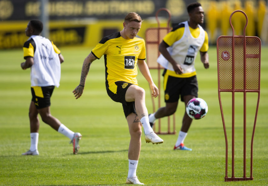 DORTMUND, GERMANY - AUGUST 03: Marius Wolf kicks the ball during the first training session of Borussia Dortmund after the summer break on August 03, 2020 in Dortmund, Germany. (Photo by Lars Baron/Getty Images)