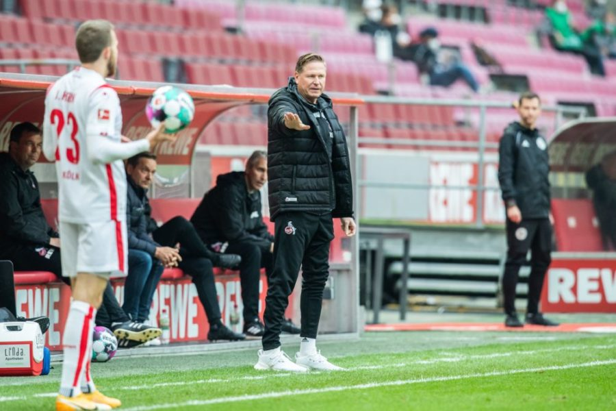 Cologne's German coach Markus Gisdol reacts from the sidelines during the German first division Bundesliga football match 1 FC Cologne v Eintracht Frankfurt in Cologne, western Germany, on October 18, 2020. (Photo by Marcel Kusch / POOL / AFP) / DFL REGULATIONS PROHIBIT ANY USE OF PHOTOGRAPHS AS IMAGE SEQUENCES AND/OR QUASI-VIDEO (Photo by MARCEL KUSCH/POOL/AFP via Getty Images)