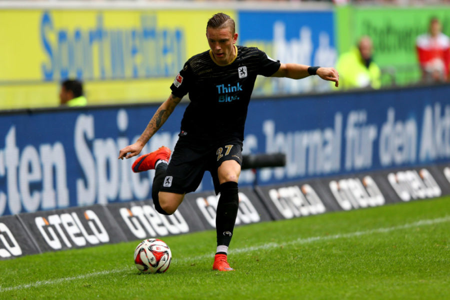 DUESSELDORF, GERMANY - APRIL 25: Marius Wolf of 1860 Muenchen runs with the ball during the Second Bundesliga match between Fortuna Duesseldorf and 1860 Muenchen at Esprit-Arena on April 25, 2015 in Duesseldorf, Germany. The match between Duesseldorf and 1860 Muenchen ended 1-1. (Photo by Christof Koepsel/Bongarts/Getty Images)