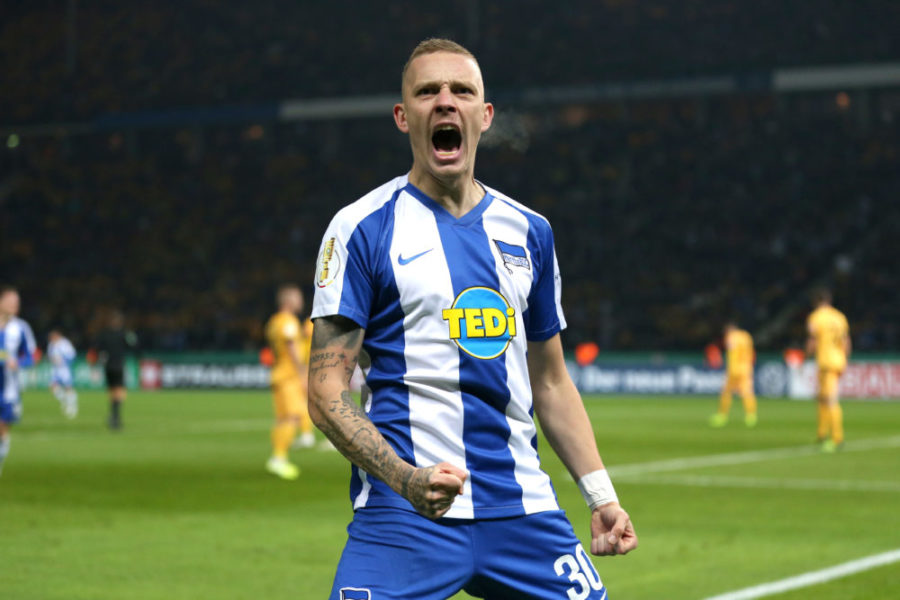 BERLIN, GERMANY - OCTOBER 30: Marius Wolf of Hertha BSC celebrates after Dodi Lukebakio (not in frame) scores his side's first goal during the DFB Cup second round match between Hertha BSC and Dynamo Dresden at Olympiastadion on October 30, 2019 in Berlin, Germany. (Photo by Maja Hitij/Bongarts/Getty Images)