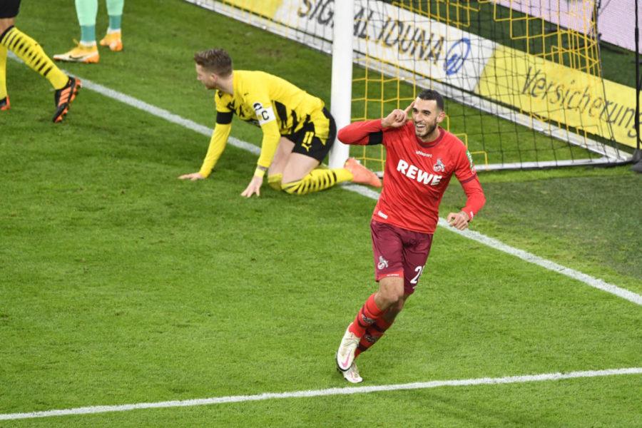 Fussball 1. Bundesliga / Borussia Dortmund - 1. FC Koeln Ellyes SKHIRI K jubelt nach seinem Tor zum 0:2, Fussball 1. Bundesliga Saison 2020/2021, 9.Spieltag, Spieltag09, Borussia Dortmund - 1. FC Koeln am 28.11.2020. DFL REGULATIONS PROHIBIT ANY USE OF PHOTOGRAPHS AS IMAGE SEQUENCES AND/OR QUASI-VIDEO.EDITORIAL USE ONLY. NO SECONDARY RE-SALE WITHIN 48h AFTER KICK-OFF. Nur fuer journalistische Zwecke National and International News Agencies OUT NO RESALE Foto:Frank Hoermann / SVEN SIMON / POOL Dortmund Signal-Iduna-Park NRW Deutschland *** Soccer 1 Bundesliga Borussia Dortmund 1 FC Koeln Ellyes SKHIRI K cheers after his goal for 0 2, Soccer 1 Bundesliga Season 2020 2021, 9 Matchday, Matchday09, Borussia Dortmund 1 FC Koeln am 28 11 2020 DFL REGULATIONS PROHIBIT ANY USE OF PHOTOGRAPHS AS IMAGE SEQUENCES AND OR QUASI VIDEO EDITORIAL USE ONLY NO SECONDARY RE SALE WITHIN 48h AFTER KICK OFF For journalistic purposes only National and International News Agencies OUT NO RESALE Photo Frank Hoermann SVEN SIMON POOL Dortmund Signal Iduna Park NRW Germany Poolfoto SvenSimon / POOL ,EDITORIAL USE ONLY