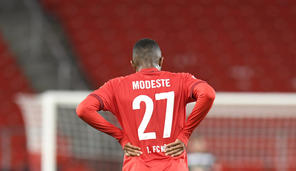Modeste reacts after the German first division Bundesliga football match VfB Stuttgart v 1 FC Cologne in Stuttgart, southern Germany, on October 23, 2020. (Photo by THOMAS KIENZLE / AFP) / DFL REGULATIONS PROHIBIT ANY USE OF PHOTOGRAPHS AS IMAGE SEQUENCES AND/OR QUASI-VIDEO (Photo by THOMAS KIENZLE/AFP /AFP via Getty Images)