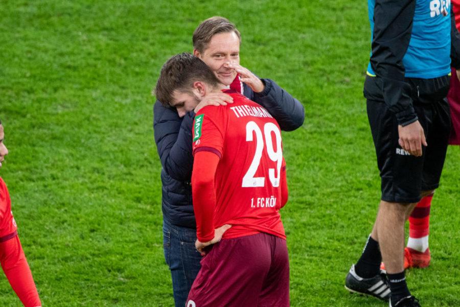 Horst HELDT li., Sportchef K freut sich mit Jan THIELMANN K ueber den Sieg, Fussball 1. Bundesliga, 9. Spieltag, Borussia Dortmund DO - 1.FC Koeln K 1:2, am 28.11.2020 in Dortmund/ Deutschland. DFL REGULATIONS PROHIBIT ANY USE OF PHOTOGRAPHS AS IMAGE SEQUENCES AND/OR QUASI-VIDEO.EDITORIAL USE ONLY. Nur fuer journalistische Zwecke *** Horst HELDT li , Head of Sports K is happy about the victory together with Jan THIELMANN K, Football 1 Bundesliga, 9 Matchday, Borussia Dortmund DO 1 FC Koeln K 1 2, on 28 11 2020 in Dortmund Germany DFL REGULATIONS PROHIBIT ANY USE OF PHOTOGRAPHS AS IMAGE SEQUENCES AND OR QUASI VIDEO EDITORIAL USE ONLY For journalistic purposes only