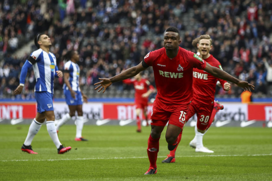 BERLIN, GERMANY - FEBRUARY 22: Jhon Cordoba of 1. FC Koeln celebrates after scoring his team's first goal during the Bundesliga match between Hertha BSC and 1. FC Koeln at Olympiastadion on February 22, 2020 in Berlin, Germany. (Photo by Maja Hitij/Bongarts/Getty Images)