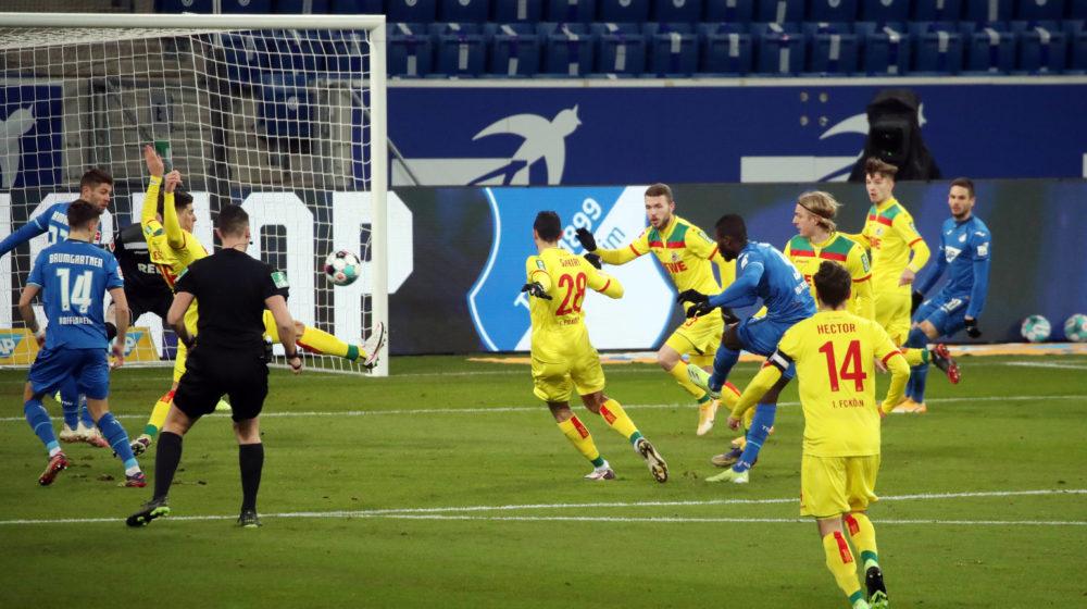 24.01.01 TSG 1899 Hoffenheim - 1. FC Köln Deutschland, Sinsheim, 24.01.2021, Fussball, Bundesliga, Saison 2020/2021, TSG 1899 Hoffenheim - 1. FC Köln: li. Sava-Arangel Cestic 1. FC Köln Handspiel Elfmeter 1:0, DFL REGULATIONS PROHIBIT ANY USE OF PHOTOGRAPHS AS IMAGE SEQUENCES AND/OR QUASI-VIDEO. *** 24 01 01 TSG 1899 Hoffenheim 1 FC Köln Germany, Sinsheim, 24 01 2021, Football, Bundesliga, Season 2020 2021, TSG 1899 Hoffenheim 1 FC Köln li Sava Arangel Cestic 1 FC Köln Handball Penalty 1 0, DFL REGULATES PROHIBIT ANY USE OF PHOTOGRAPHS AS IMAGE SEQUENCES AND OR QUASI VIDEO