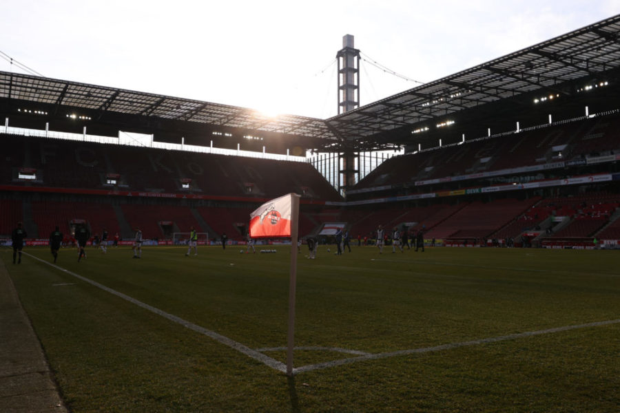 COLOGNE, GERMANY - JANUARY 31: A general view inside the stadium ahead of the Bundesliga match between 1. FC Koeln and DSC Arminia Bielefeld at RheinEnergieStadion on January 31, 2021 in Cologne, Germany. Sporting stadiums around Germany remain under strict restrictions due to the Coronavirus Pandemic as Government social distancing laws prohibit fans inside venues resulting in games being played behind closed doors. (Photo by Lars Baron/Getty Images)