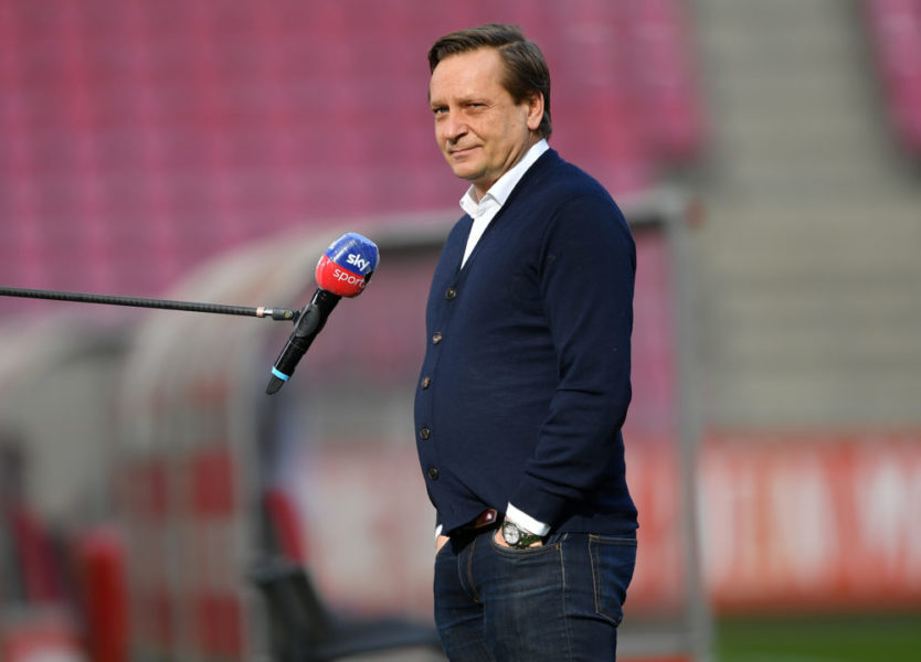 COLOGNE, GERMANY - FEBRUARY 20: Horst Heldt, 1. FC Koeln Managing Director of Sport talks to Sky Sports prior to the Bundesliga match between 1. FC Koeln and VfB Stuttgart at RheinEnergieStadion on February 20, 2021 in Cologne, Germany. Sporting stadiums around Germany remain under strict restrictions due to the Coronavirus Pandemic as Government social distancing laws prohibit fans inside venues resulting in games being played behind closed doors. (Photo by Frederic Scheidemann/Getty Images)