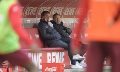 Trainer Markus GISDOL K mit Horst HELDT l. Sportchef K Fussball 1. Bundesliga, 19. Spieltag, 1. FC Koeln K - Arminia Bielefeld BI, am 31.01.2021 in Koeln/Deutschland. *** Coach Markus GISDOL K with Horst HELDT l Sportchef K Football 1 Bundesliga, Matchday 19, 1 FC Koeln K Arminia Bielefeld BI , on 31 01 2021 in Koeln Germany