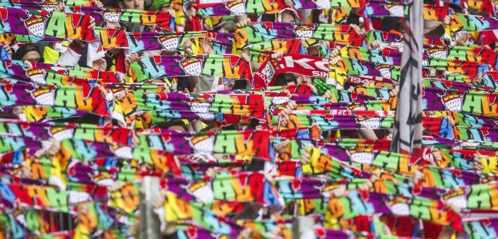 Hamburger SV - 1. FC Köln 1:1 (0:1) 1. Fussball Bundesliga Saison 2015 2016 Volkspark Stadion Hamburg Deutschland Datum: 07.02.2016 Jecke Fans vom 1. FC Köln Hamburg SV 1 FC Cologne 1 1 0 1 1 Football Bundesliga Season 2015 2016 Peopleu0026#39;s Park Stadium Hamburg Germany date 07 02 2016 Jecke supporters of 1 FC Cologne