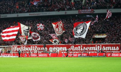 xuhx, Koeln, Rheinenergiestadion, 30.10.16, 1.Bundesliga - 9.Spieltag: 1.FC Koeln - Hamburger SV Bild: Fankurve, Fans, Fanblock Köln mit Spruchband Fussballfans gegen Antisemitismus Koeln xuhx Cologne RheinEnergie Stadium 30 10 16 1 Bundesliga 9 Matchday 1 FC Cologne Hamburg SV Picture Fankurve supporters Fanblock Cologne with Banner Football fans against Anti-Semitism Cologne