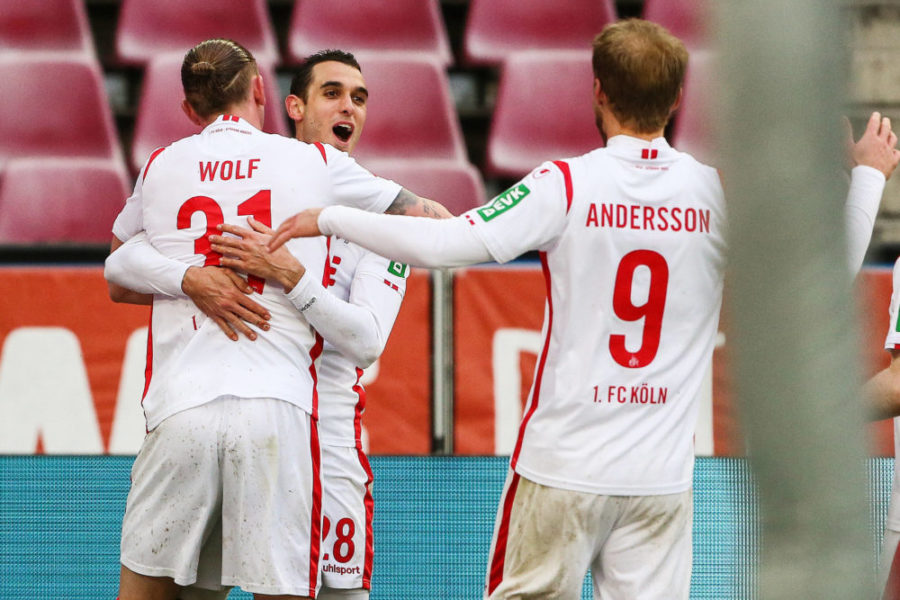 210412 -- COLOGNE, April 12, 2021 -- Ellyes Skhiri C of Koeln celebrates his scoring with teammates during a German Bundesliga football match between FC Koeln and FSV Mainz 05 in Cologne, Germany, April 11, 2021. FOR EDITORIAL USE ONLY. SPGERMANY-COLOGNE-FOOTBALL-BUNDESLIGA-KOELN VS MAINZ ShanxYuqi PUBLICATIONxNOTxINxCHN