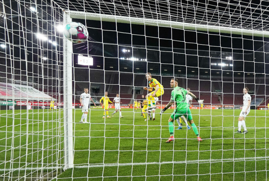 Fussball 1.German Soccer League FC AUGSBURG - 1.FC KOELN 2-3 Ondrej DUDA, 1.FCK 18 scores, shoots goal , Tor, Treffer, 0-3, Rafal GIKIEWICZ, goalkeeper FCA 1 in the match FC AUGSBURG - 1.FC KOELN 2-3 DFL 1.German Football League , Augsburg, Germany, April 23, 2021. Season 2020/2021, matchday 31, 1.Bundesliga, 31.Spieltag, Köln, Photographer: Peter Schatz / Pool National and international News-Agencies OUT Editorial Use ONLY - DFL REGULATIONS PROHIBIT ANY USE OF PHOTOGRAPHS as IMAGE SEQUENCES and/or QUASI-VIDEO - Augsburg WWK Arena Bavaria Germany *** Fußball 1 German Soccer League FC AUGSBURG 1 FC KOELN 2 3 Ondrej DUDA, 1 FCK 18 scores, shoots goal , Goal, Hits, 0 3, Rafal GIKIEWICZ, goalkeeper FCA 1 in the match FC AUGSBURG 1 FC KOELN 2 3 DFL 1 German Football League , Augsburg, Germany, April 23, 2021 Season 2020 2021, matchday 31, 1 Bundesliga, 31 Spieltag, Köln, Photographer Peter Schatz Pool National and international News Agencies OUT Editorial Use ONLY DFL REGULATIONS PROHIBIT ANY USE OF PHOTOGRAPHS as IMAGE SEQUENCES and or QUASI VIDEO Augsburg WWK Arena Bavaria Germany Poolfoto Peter Schatz / Pool ,EDITORIAL USE ONLY