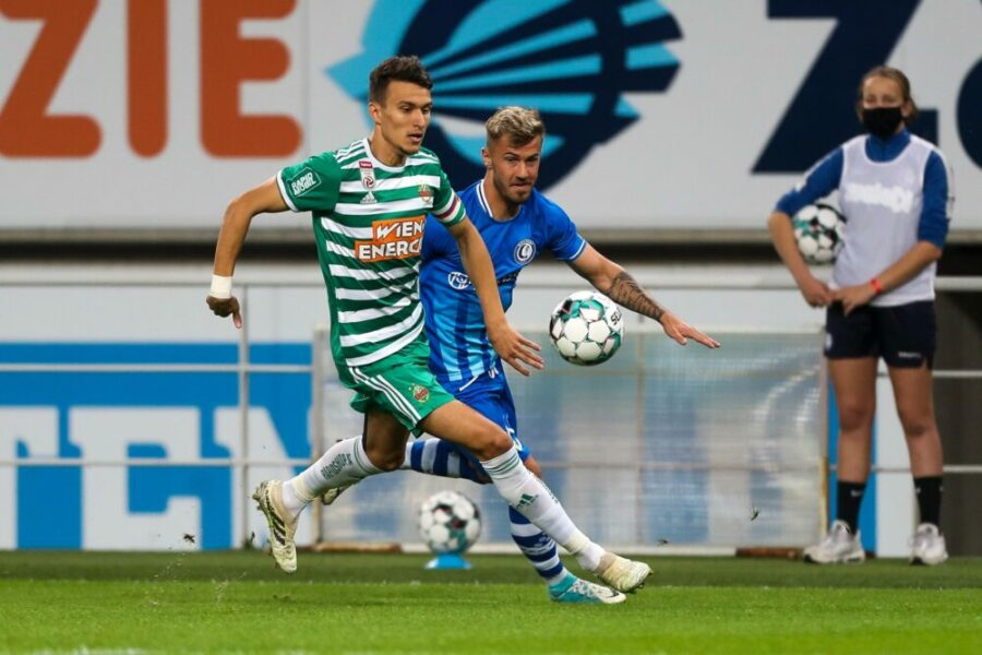 SOCCER - CL, Gent vs Rapid GHENT,BELGIUM,15.SEP.20 - SOCCER - UEFA Champions League, qualification, KAA Gent vs SK Rapid Wien. Image shows Dejan Ljubicic Rapid and Niklas Dorsch Gent. PUBLICATIONxINxGERxHUNxONLY GEPAxpictures/xPhilippxBrem